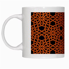 Triangle Knot Orange And Black Fabric White Mugs by BangZart