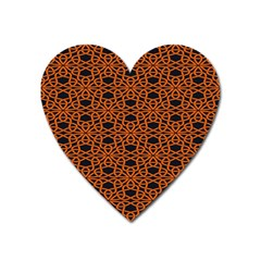 Triangle Knot Orange And Black Fabric Heart Magnet by BangZart