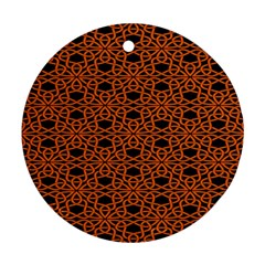 Triangle Knot Orange And Black Fabric Round Ornament (two Sides) by BangZart