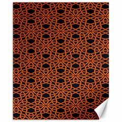 Triangle Knot Orange And Black Fabric Canvas 16  X 20   by BangZart