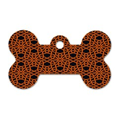 Triangle Knot Orange And Black Fabric Dog Tag Bone (one Side)