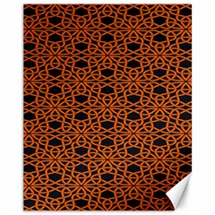 Triangle Knot Orange And Black Fabric Canvas 11  X 14