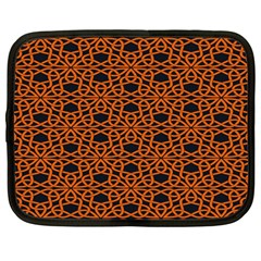 Triangle Knot Orange And Black Fabric Netbook Case (large) by BangZart