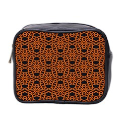 Triangle Knot Orange And Black Fabric Mini Toiletries Bag 2 Side