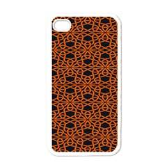 Triangle Knot Orange And Black Fabric Apple Iphone 4 Case (white) by BangZart