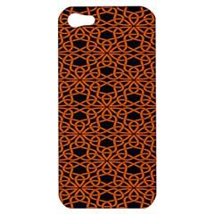 Triangle Knot Orange And Black Fabric Apple Iphone 5 Hardshell Case by BangZart