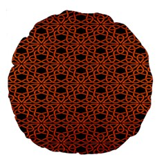 Triangle Knot Orange And Black Fabric Large 18  Premium Round Cushions
