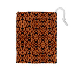 Triangle Knot Orange And Black Fabric Drawstring Pouches (large)  by BangZart