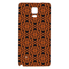 Triangle Knot Orange And Black Fabric Galaxy Note 4 Back Case by BangZart