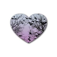 Crow Flock  Rubber Coaster (heart)  by Valentinaart