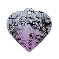 Crow Flock  Dog Tag Heart (one Side) by Valentinaart