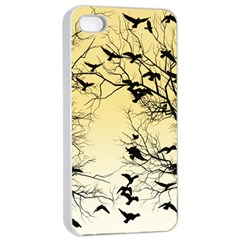 Crow Flock  Apple Iphone 4/4s Seamless Case (white) by Valentinaart