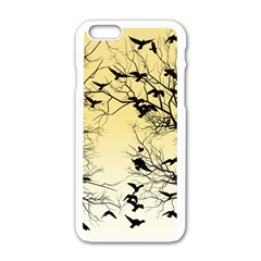 Crow Flock  Apple Iphone 6/6s White Enamel Case by Valentinaart