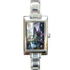 Fantastic World Fantasy Painting Rectangle Italian Charm Watch