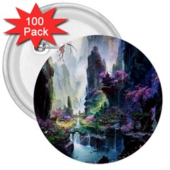 Fantastic World Fantasy Painting 3  Buttons (100 Pack)