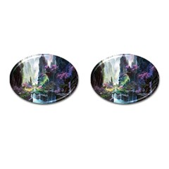 Fantastic World Fantasy Painting Cufflinks (oval)