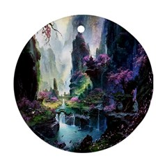 Fantastic World Fantasy Painting Round Ornament (two Sides) by BangZart
