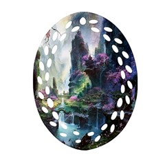 Fantastic World Fantasy Painting Oval Filigree Ornament (two Sides)