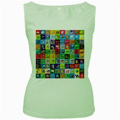 Exquisite Icons Collection Vector Women s Green Tank Top