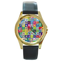 Exquisite Icons Collection Vector Round Gold Metal Watch