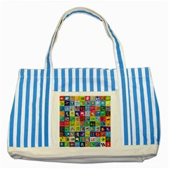 Exquisite Icons Collection Vector Striped Blue Tote Bag