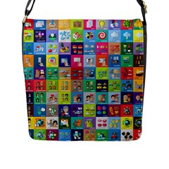 Exquisite Icons Collection Vector Flap Messenger Bag (l)  by BangZart