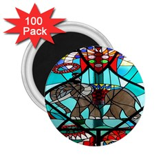 Elephant Stained Glass 2 25  Magnets (100 Pack)  by BangZart