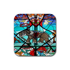 Elephant Stained Glass Rubber Coaster (square)