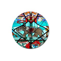 Elephant Stained Glass Magnet 3  (round)