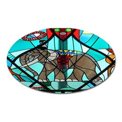 Elephant Stained Glass Oval Magnet by BangZart