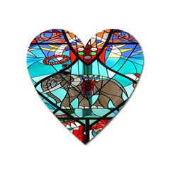 Elephant Stained Glass Heart Magnet by BangZart