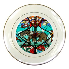 Elephant Stained Glass Porcelain Plates