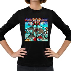 Elephant Stained Glass Women s Long Sleeve Dark T Shirts