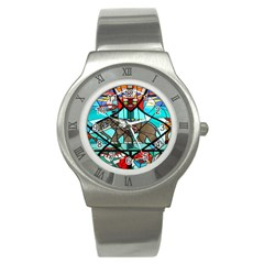Elephant Stained Glass Stainless Steel Watch by BangZart