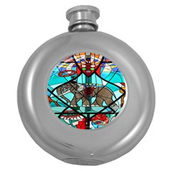 Elephant Stained Glass Round Hip Flask (5 Oz) by BangZart