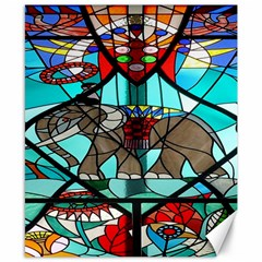 Elephant Stained Glass Canvas 8  X 10  by BangZart
