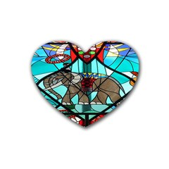 Elephant Stained Glass Rubber Coaster (heart)  by BangZart