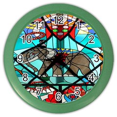 Elephant Stained Glass Color Wall Clocks by BangZart