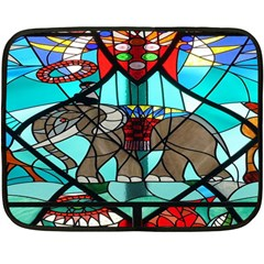 Elephant Stained Glass Double Sided Fleece Blanket (mini)  by BangZart