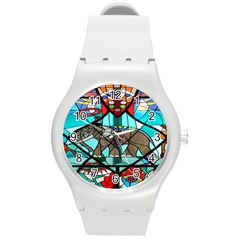 Elephant Stained Glass Round Plastic Sport Watch (m) by BangZart