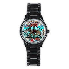 Elephant Stained Glass Stainless Steel Round Watch