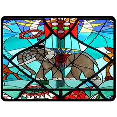 Elephant Stained Glass Double Sided Fleece Blanket (large)  by BangZart