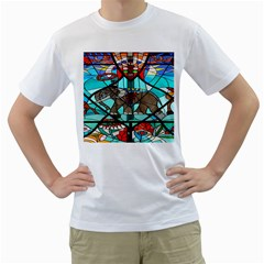 Elephant Stained Glass Men s T Shirt (white)  by BangZart