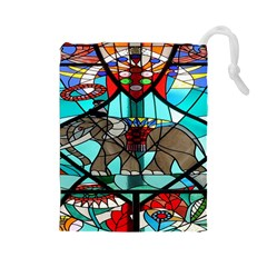 Elephant Stained Glass Drawstring Pouches (large)  by BangZart