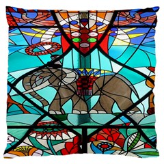 Elephant Stained Glass Standard Flano Cushion Case (one Side)