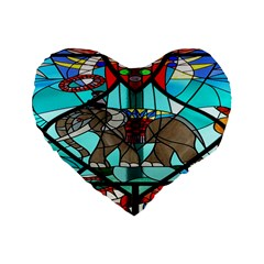 Elephant Stained Glass Standard 16  Premium Flano Heart Shape Cushions by BangZart