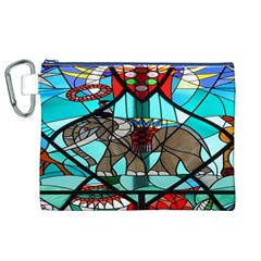 Elephant Stained Glass Canvas Cosmetic Bag (xl) by BangZart