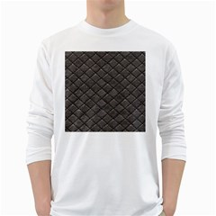 Seamless Leather Texture Pattern White Long Sleeve T Shirts