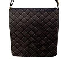 Seamless Leather Texture Pattern Flap Messenger Bag (l)