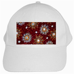 India Traditional Fabric White Cap by BangZart
